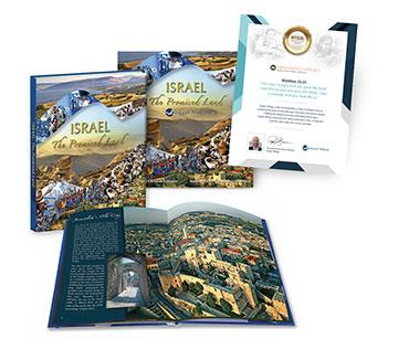 Israel the Promised Land book, 16-Month Calendar and Sponsor Certificate